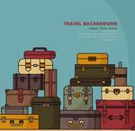 堆叠起来的行李箱