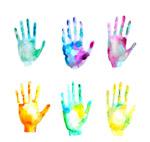 水彩绘混色手印