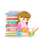 彩绘读书的女孩