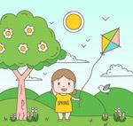 郊外放风筝的儿童