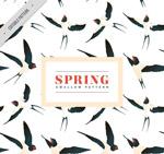 春季燕子无缝背景