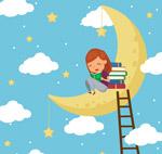 月亮上读书的女孩
