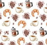 咖啡和牛角面包背景