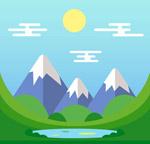 山中湖泊风景