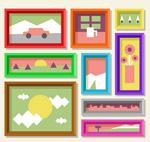 彩色风景照片墙