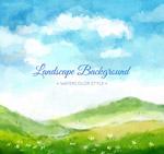 草地和山风景