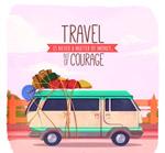 旅行车隽语插画
