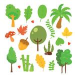 绿树和叶子矢量