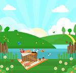 郊外风景和野餐篮
