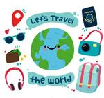 可爱环球旅行元素