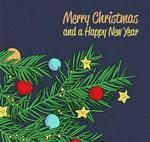 圣诞松树枝贺卡
