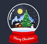 圣诞夜雪花水晶球