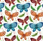 蝴蝶和叶子无缝背景
