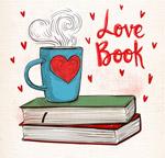 书本上的热咖啡