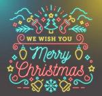 圣诞节霓虹灯祝福卡