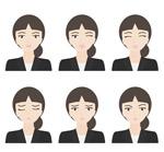 商务女子表情矢量