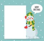 圣诞雪人和空白纸张