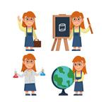 女孩4种学习场景