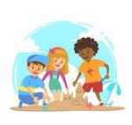玩沙滩城堡的儿童