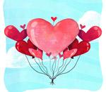 水彩绘爱心气球束
