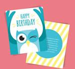 猫头鹰生日祝福卡