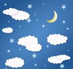 白色云朵和月亮