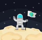 卡通登陆月球的男子