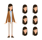 长发女子和头像