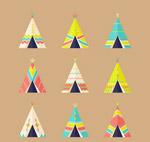 彩色印第安帐篷