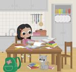 做作业的女孩和猫咪