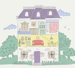 手绘住宅内部图