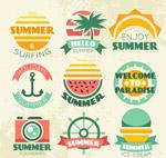 复古夏季度假徽章