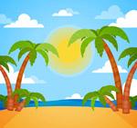沙滩棕榈树风景