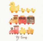 水彩绘玩具火车