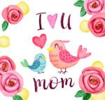 母亲节玫瑰花和鸟
