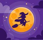 卡通月夜女巫剪影