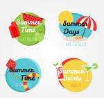 彩色夏季度假标签
