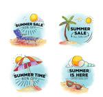 彩绘夏季促销标签