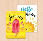 水彩绘夏季卡片