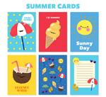 可爱夏季卡片矢量