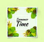 夏季绿色树叶卡片