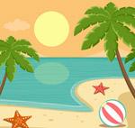 椰子树沙滩风景