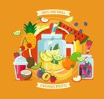 多种新鲜水果果汁