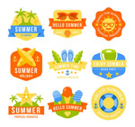 彩色夏日假期标签