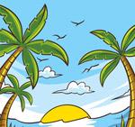 彩绘沙滩椰树风景