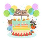 生日蛋糕和动物