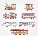 彩绘火车和车厢
