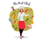 女厨师和蔬菜