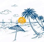 海滩棕榈树风景