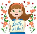 卡通笑脸长发女孩
